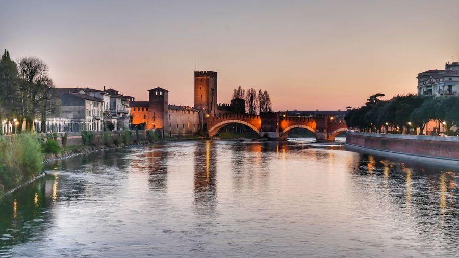 EyeEm Selects castello Architecture Illuminated Fotografia Picoftheday LumixG80 Directly Above Pic Of The Day Water Night Tourism River Cityscape Bridge - Man Made Structure Sunset