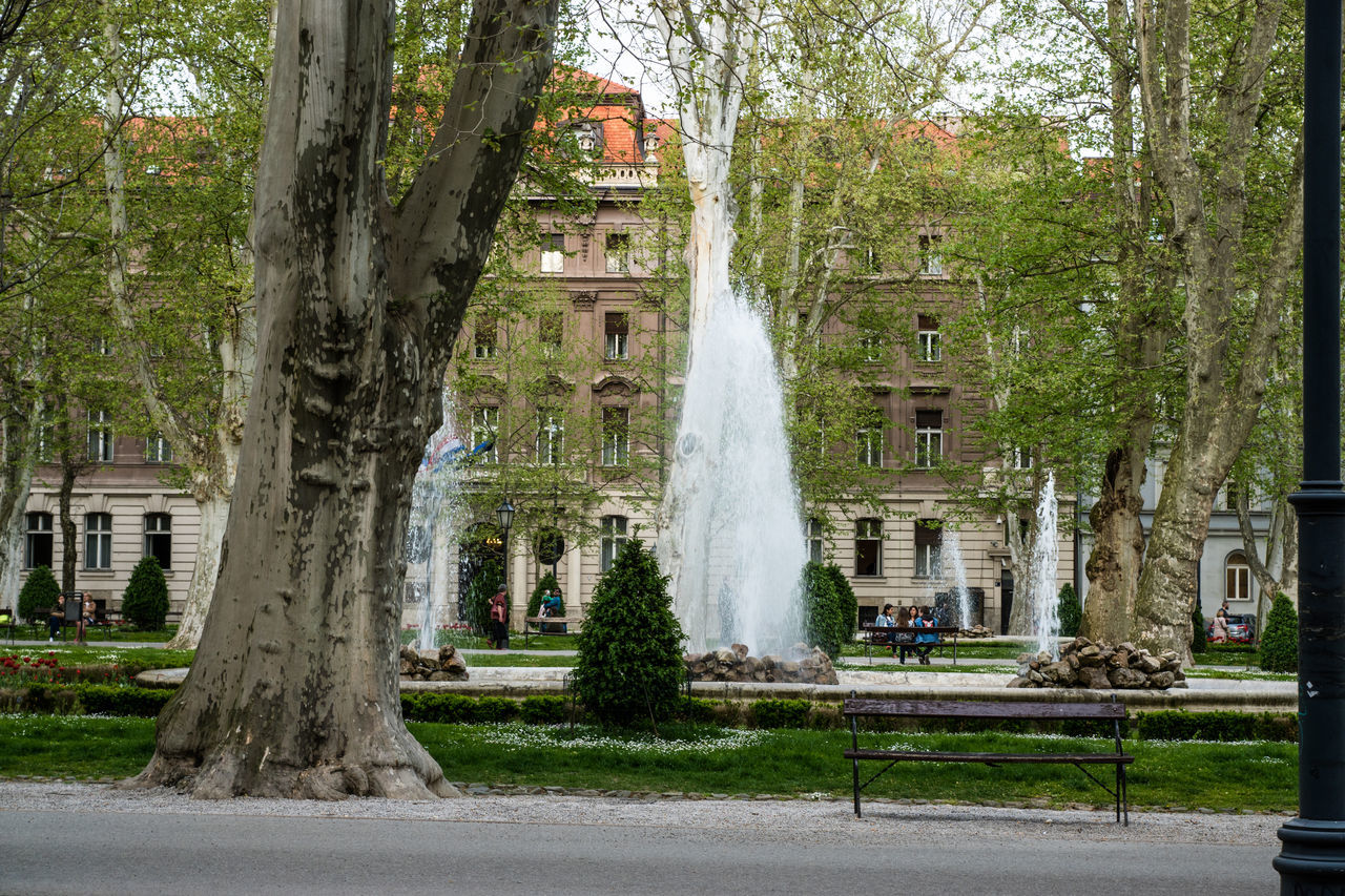 Fountains By Trees Against Building In Park