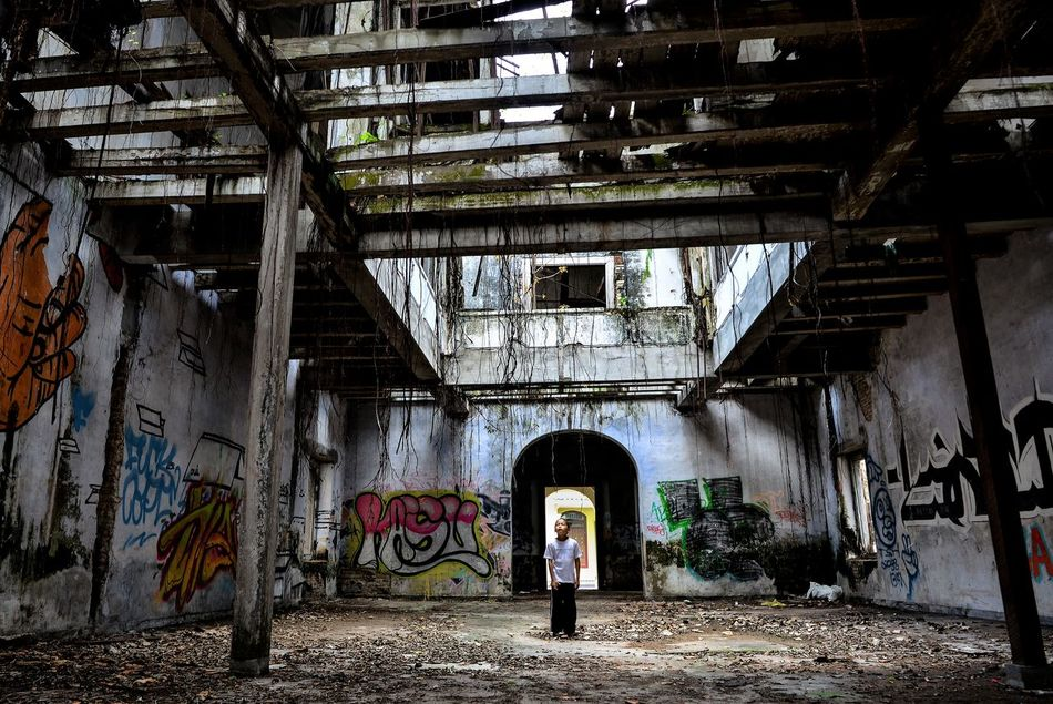 Abandoned Abandoned Places Architecture Boy Alone Built Structure Day Graffiti Indoors  Ruins The Secret Spaces