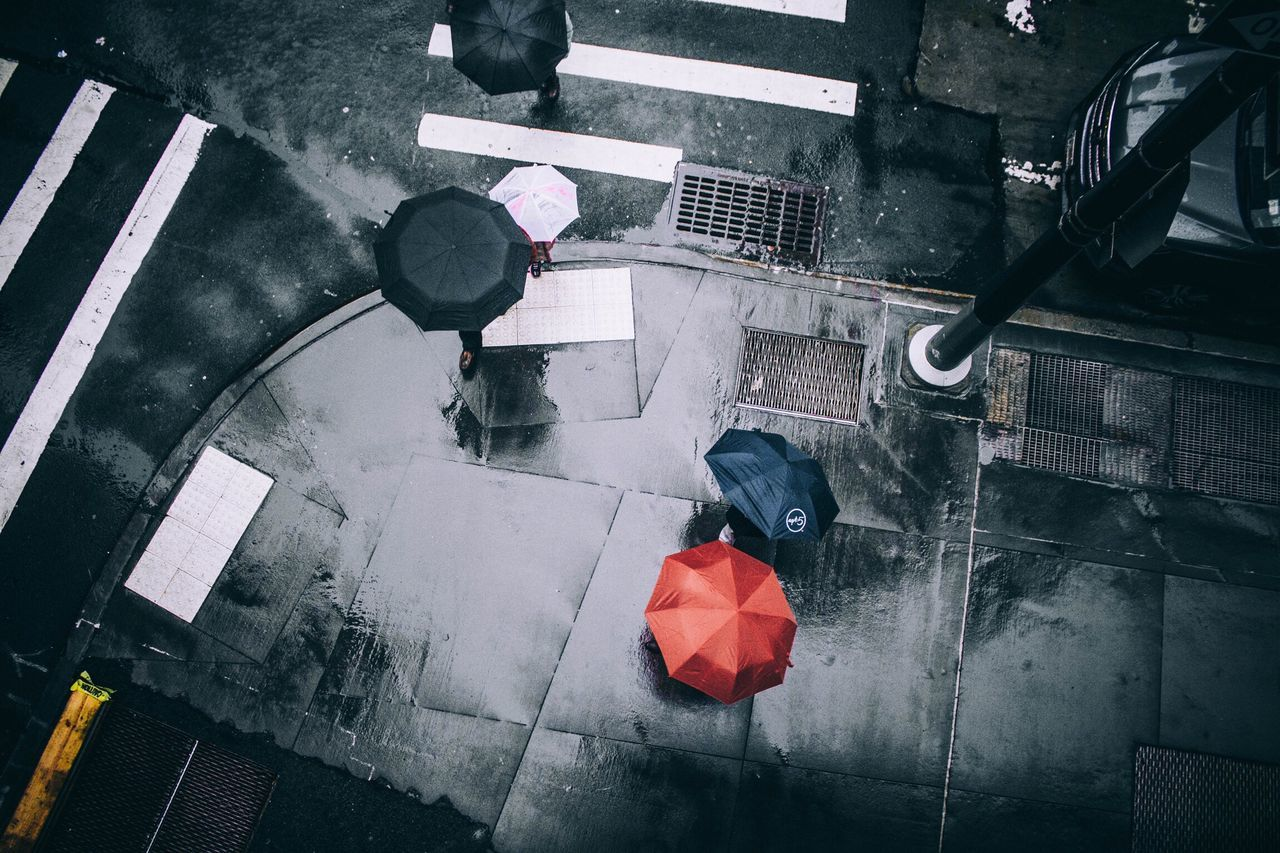 Watch from above high angle view street day outdoors Music Architecture no people City City Life umbrella umbrellas umbrellastreet