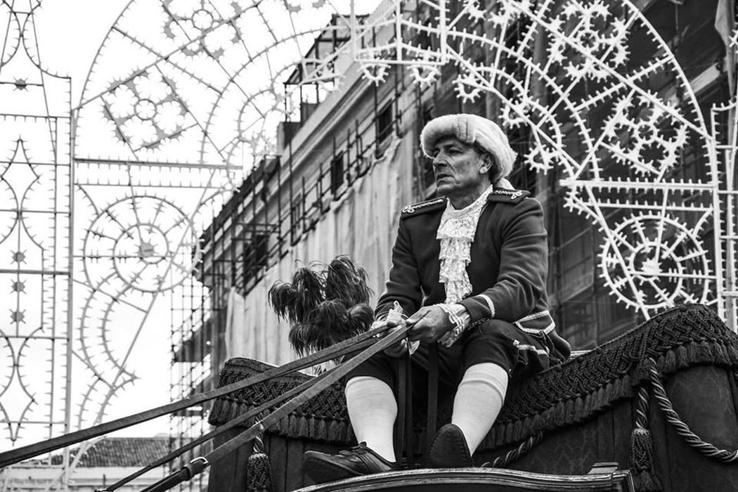 Taking Photos Old Style Brings Back Memories  Catania, Sicily Piazza Duomo Black And White High Contrast Street Decoration Man In Costume Sant'agata Parade