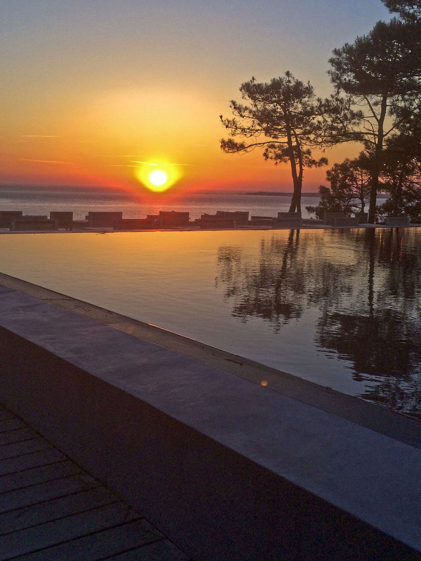 Arcachon Atlantic Beauty In Nature Orange Color Reflection Sea Sunset Tranquil Scene Tranquility