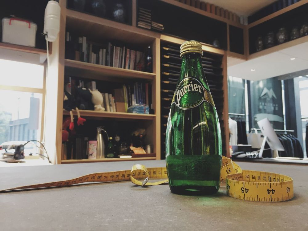 Perrier Bottle Water Tape Measure Tailor Studio Working Peace Peace And Quiet Quiet Moments Still Life Enjoying Life