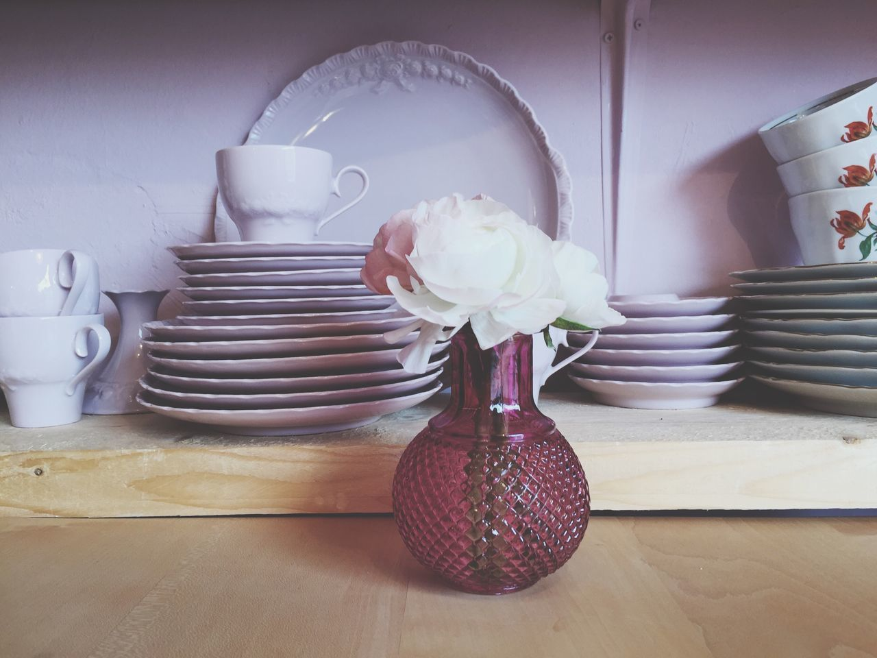 Home Interior Indoors  Table Flower No People Day Close-up Freshness Setting Plates Dishes Pink Color Ranunculus Old