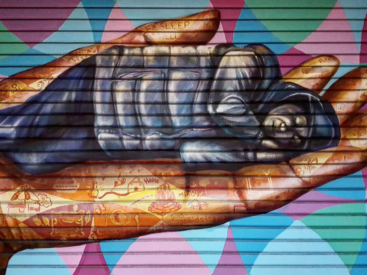 Art And Craft Multi Colored Close-up Fabric No People Tags Graffiti Wall Graffiti Art Walking Street Colours Hand Sleepy Garage