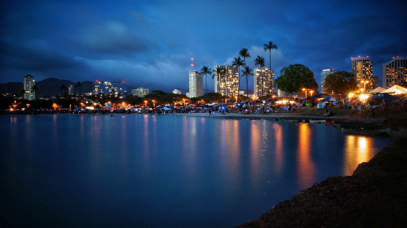 Honolulu City Lights Oahu Hawaii Water Reflections Luckywelivehawaii City Lights Amazing View Night Photography