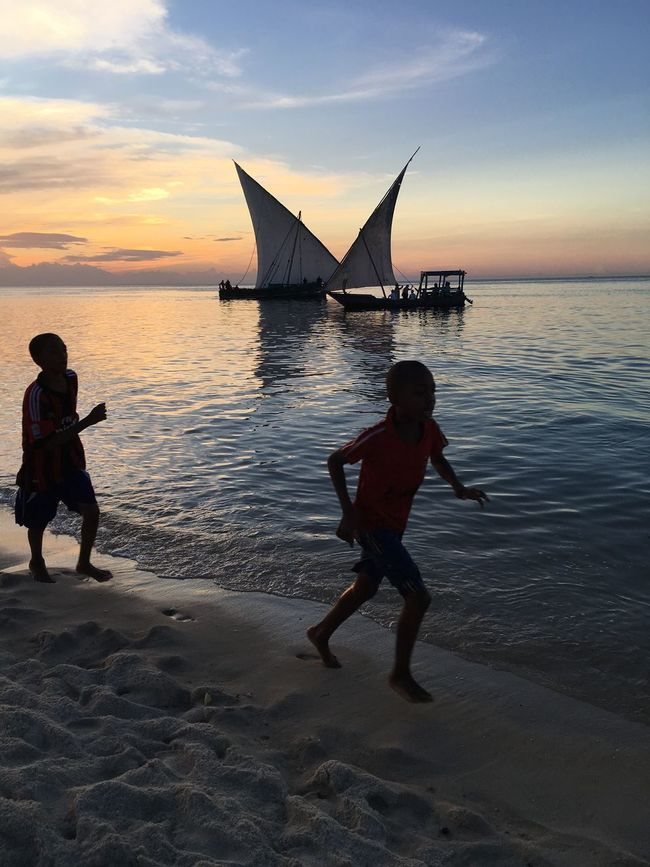 Two Is Better Than One Children Dhow Sunset Boys Beach Water Ocean Lifestyles Silhouette Sand Running Childhood Play
