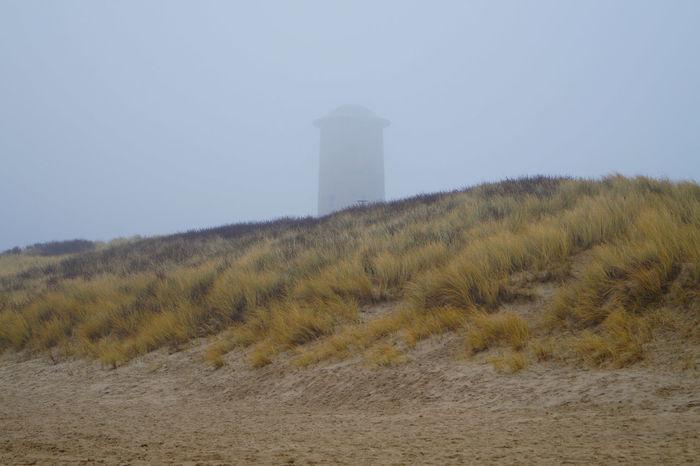 Foggy day at the beach Beach Dunes Fog Grass Sand The Netherlands Tower Zeeland