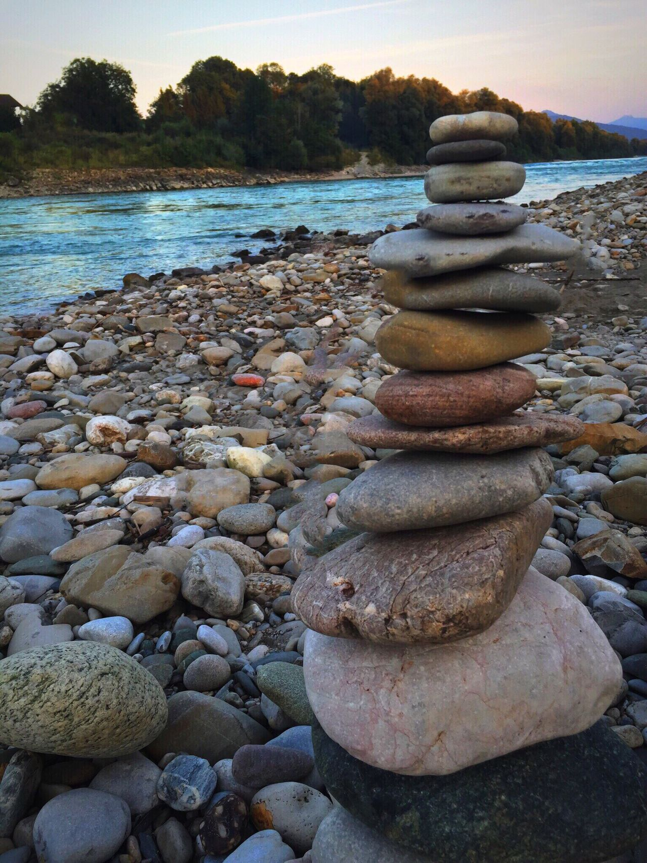 Steintaube am Fluß Balance Stack Stone - Object Pebble Large Group Of Objects Abundance Water Rock - Object Travel Destinations Tranquil Scene Tourism Group Of Objects Tranquility Nature Scenics River Stability Riverbank Sunny Non-urban Scene