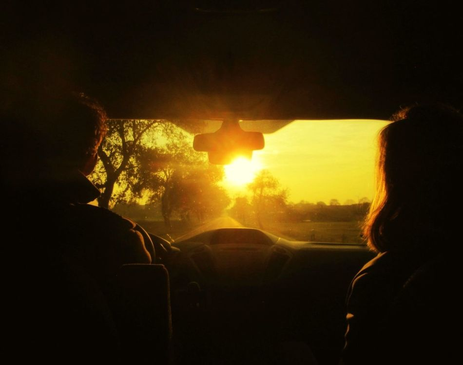 Into the light Two People Silhouette Vehicle Interior Travel Sunset Togetherness Car Interior