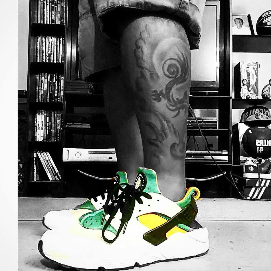 Taking Photos Legtattoos Nikeairhuarache. Nike Fashion Huarache Tattoos Brooklyn Colorful That's Me