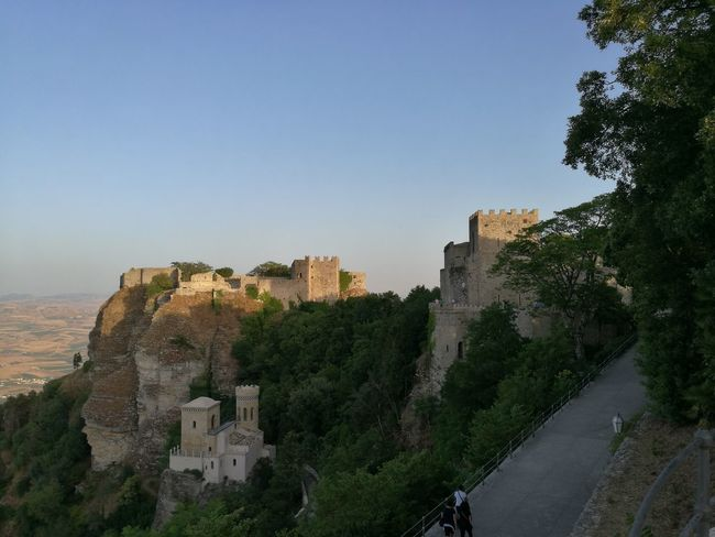 Blue Castle Clear Sky Day Erice Outdoors Panoramic Scenics Sea Sea And Sky Sicily