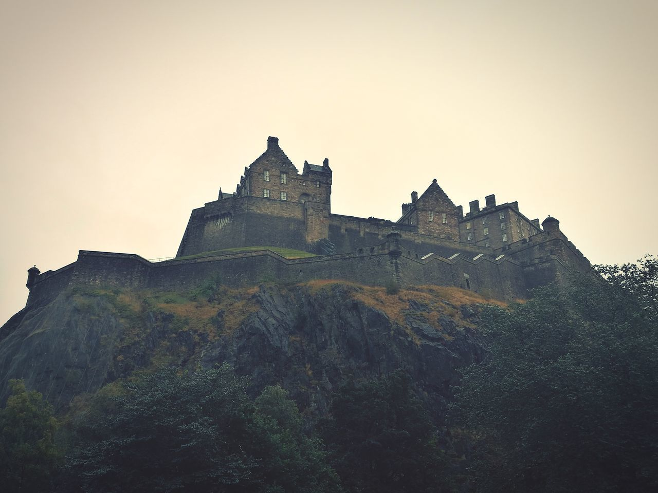 architecture, history, low angle view, no people, mountain, castle, sky, clear sky, outdoors, day, nature