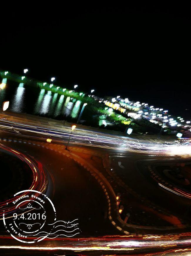 Music Brings Us Together Illuminated Night Light Trail Tail Light City Life Alexandria Egypt