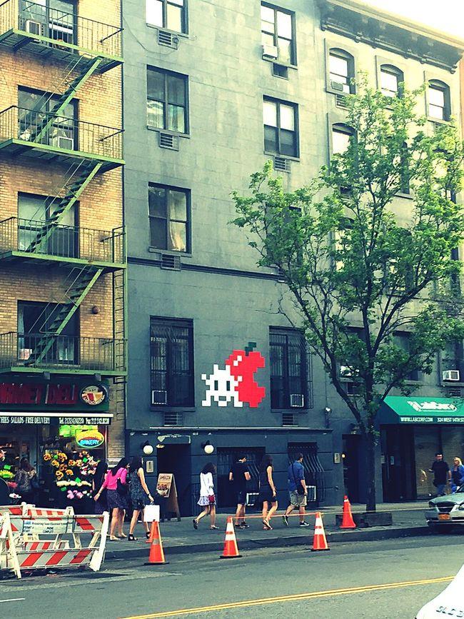 Building Exterior New York City Hoboken Graffiti Pixel Facade Building USA Summertime New York Newyorklife