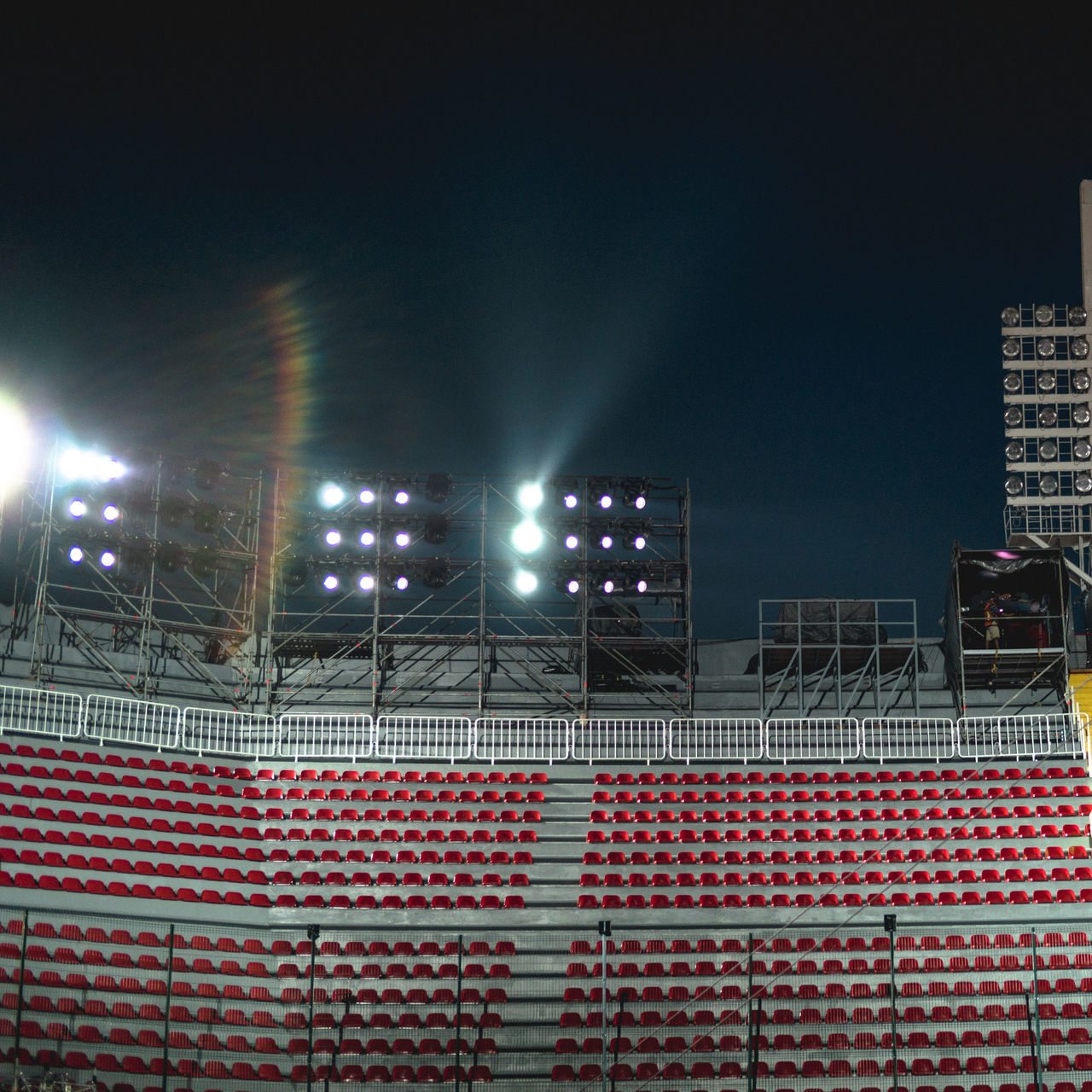 stadium, illuminated, sport, night, red, no people, floodlight, competitive sport, outdoors, soccer field, ice rink