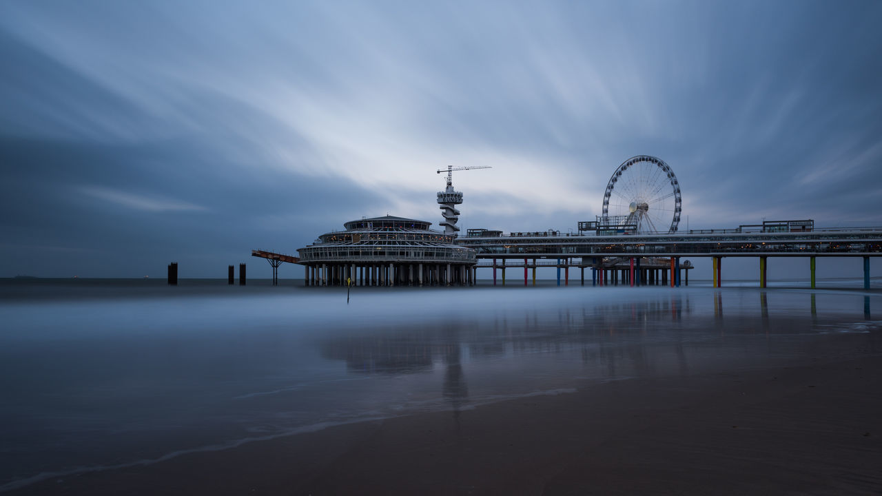 Architecture Cloud - Sky Ferris Wheel Horizon Over Water Long Exposure Reflection Scheveningen Pier Sea Travel Destinations
