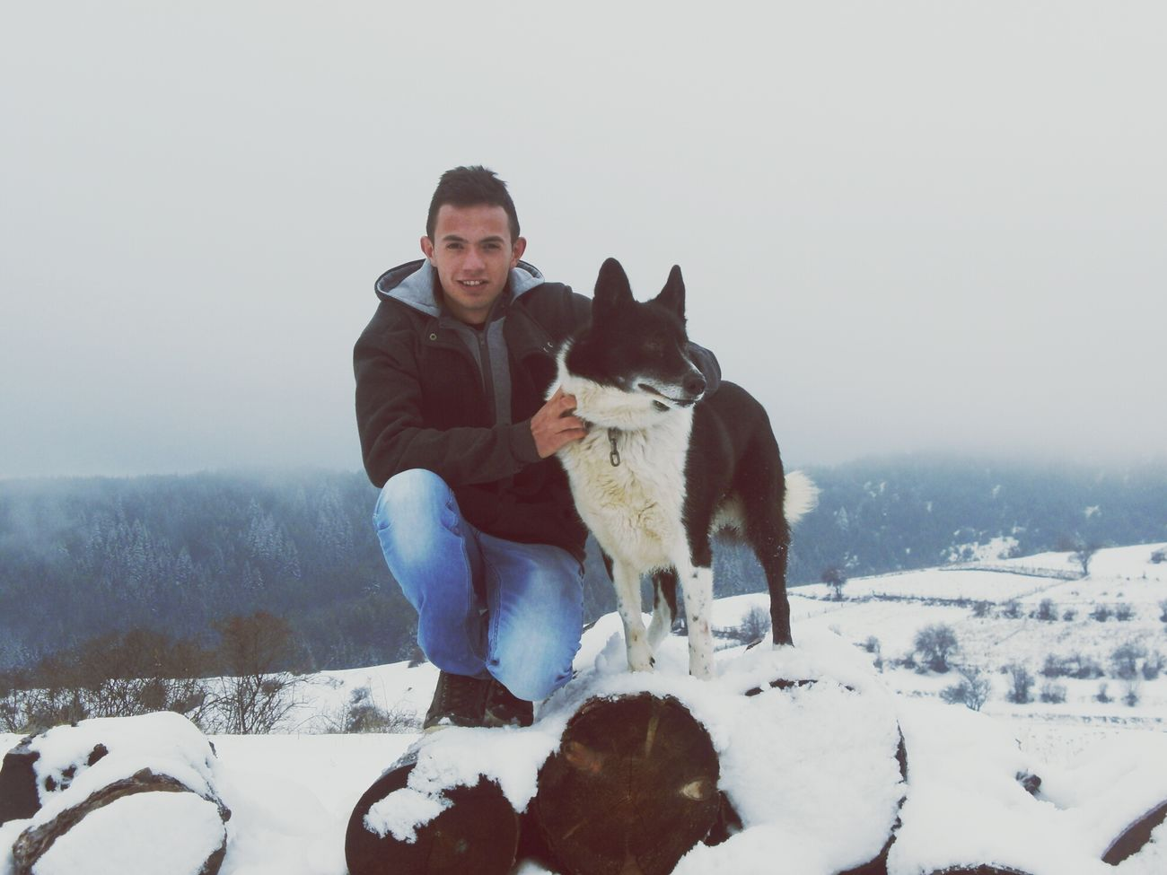 It's Winter... My Dog love Snow :) Happy People
