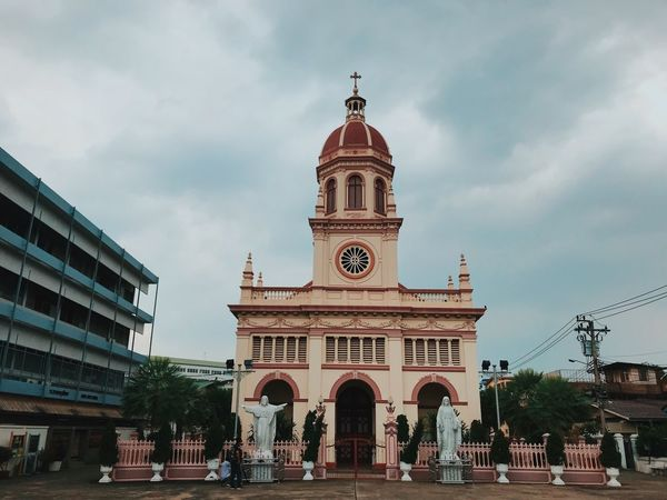 Architecture Built Structure Building Exterior Cloud - Sky Sky Religion Place Of Worship Spirituality Façade History Dome Outdoors Day Cross Arch Travel Destinations Low Angle View Tree City Bell Tower
