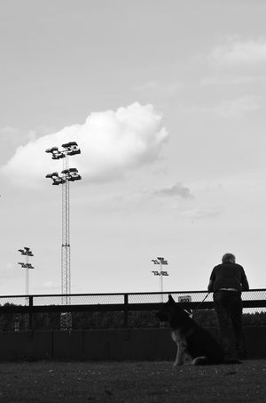 Alsatian At The Races Attention Cloud - Sky Man And Dog Old Man One Man And His Dog Unknown People Waiting Watching Black And White Photography Blackandwhite Photography