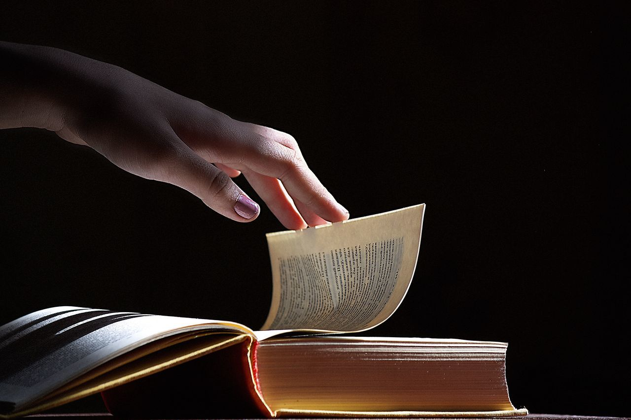 Russia Human Hand Book Human Body Part Holding Reading Learning Education Page Paper Light Close-up part 2