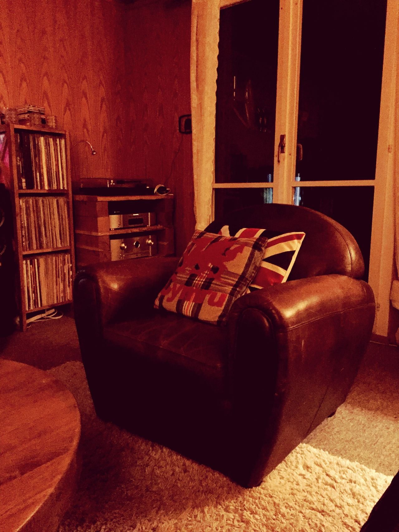 Home Interior Indoors  Leather Chair Cushion Cymru Union Jack Wooden Wall Records Living Room