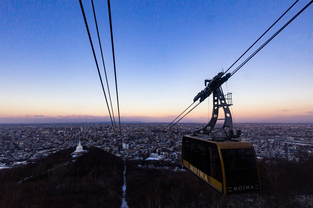 Architecture Beauty In Nature Cable Cable Car Clear Sky Day Hokkaido Japan Mountain Nature No People Outdoors Ropeway Sapporo Scenics Sea Sky Sunset Water