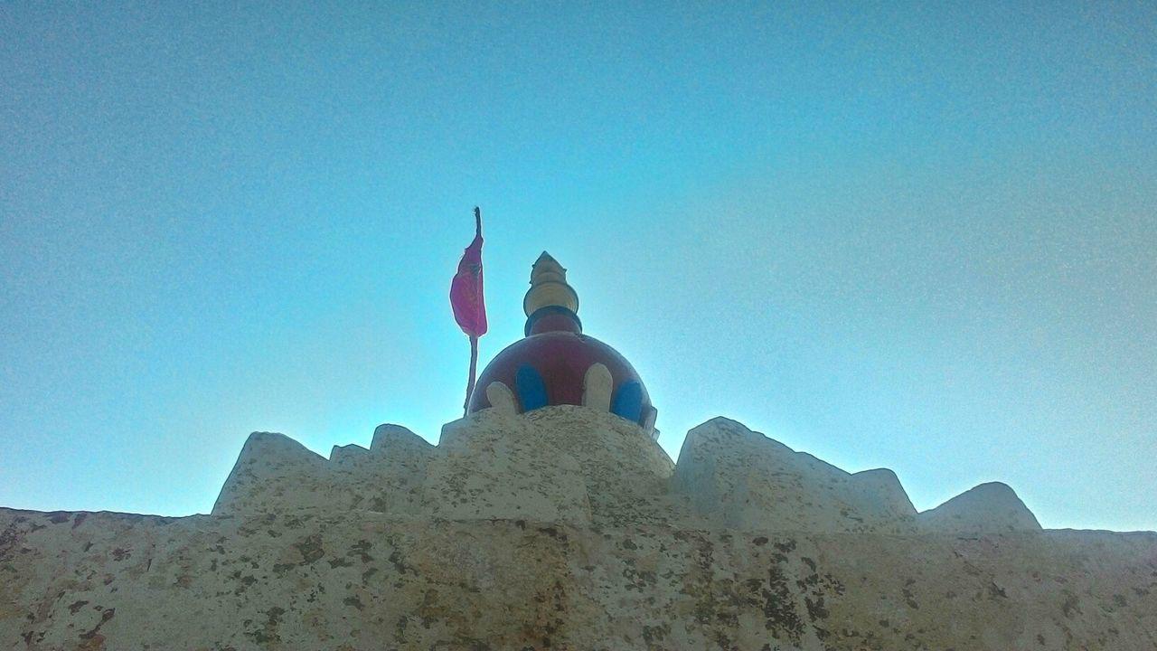 Temple Of Victory Kishkinda Birthplace Of God Hanuman Diffrentview Victory Sign Flag Blue Sky. JRPphotography