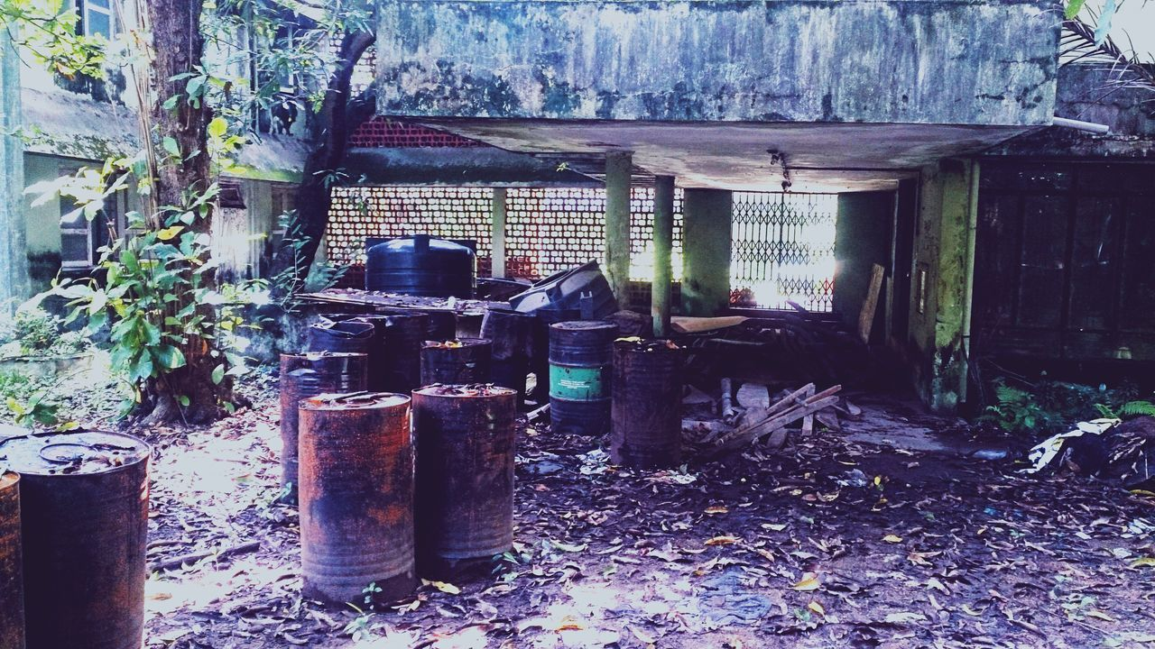 Barrels Dumped by a Delipitated Old Building  which hosted College Students 15 years ago. Urban Waste Kochi Cochin Kerala India Smartphone Photography Smartphone XPERIA Urban Exploration Abandoned Abandoned Buildings Abandoned & Derelict Fine Art Photography