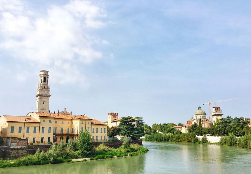 Architecture Built Structure Water Building Exterior Waterfront River Sky Tree Tower Cloud Reflection Day Cloud - Sky Outdoors Riverbank Tall - High No People City Life History Verona Italy UNESCO World Heritage Site Adige Travel Photography Travel