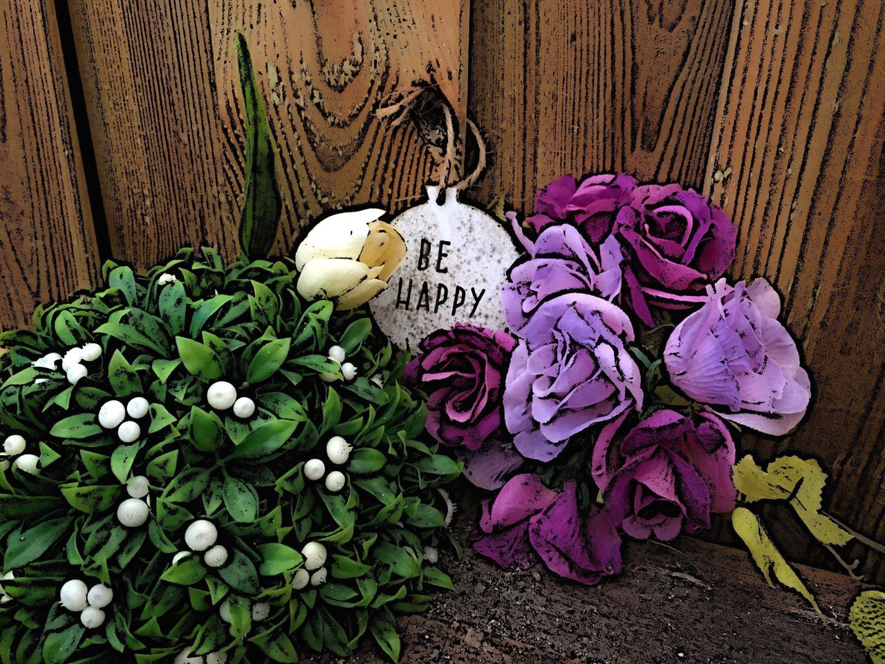 Be Happy No People Flower Flowers Plant Text Day Just Taking Pictures Multiple Colors Wood - Material On My Balcony Just Photography Totally Edited Photo Just Shooting Around!!