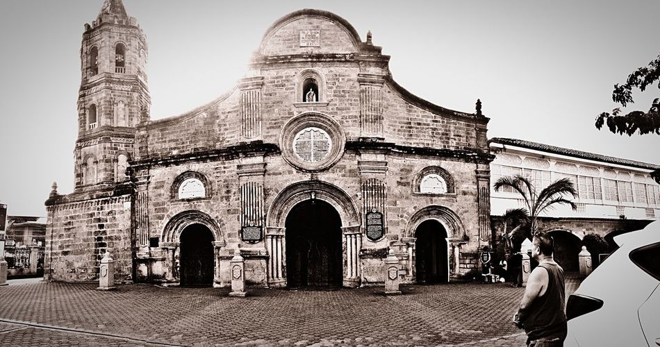 My Uncle In Front Of Barasoain Church Old Arhitecture Old Town Vintage Church ⛪ Bulacan, Philippines Historical Place Spanish Era