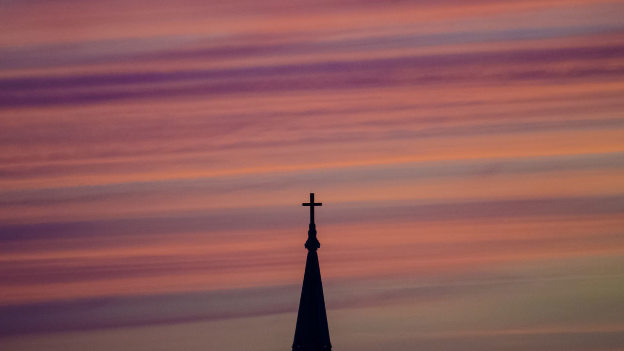 Silky clouds over the church, under the magical light of the sunset Architecture Beauty In Nature Built Structure Capture The Moment Chicago Church Cloud - Sky Cloudy Cross Dramatic Sky Enjoying Life Light And Shadow Low Angle View Magical Light Orange Color Out Of My Window Purple Scenics Silky Clouds Sky Sunset Taking Photos Showcase July 43 Golden Moments Adapted To The City