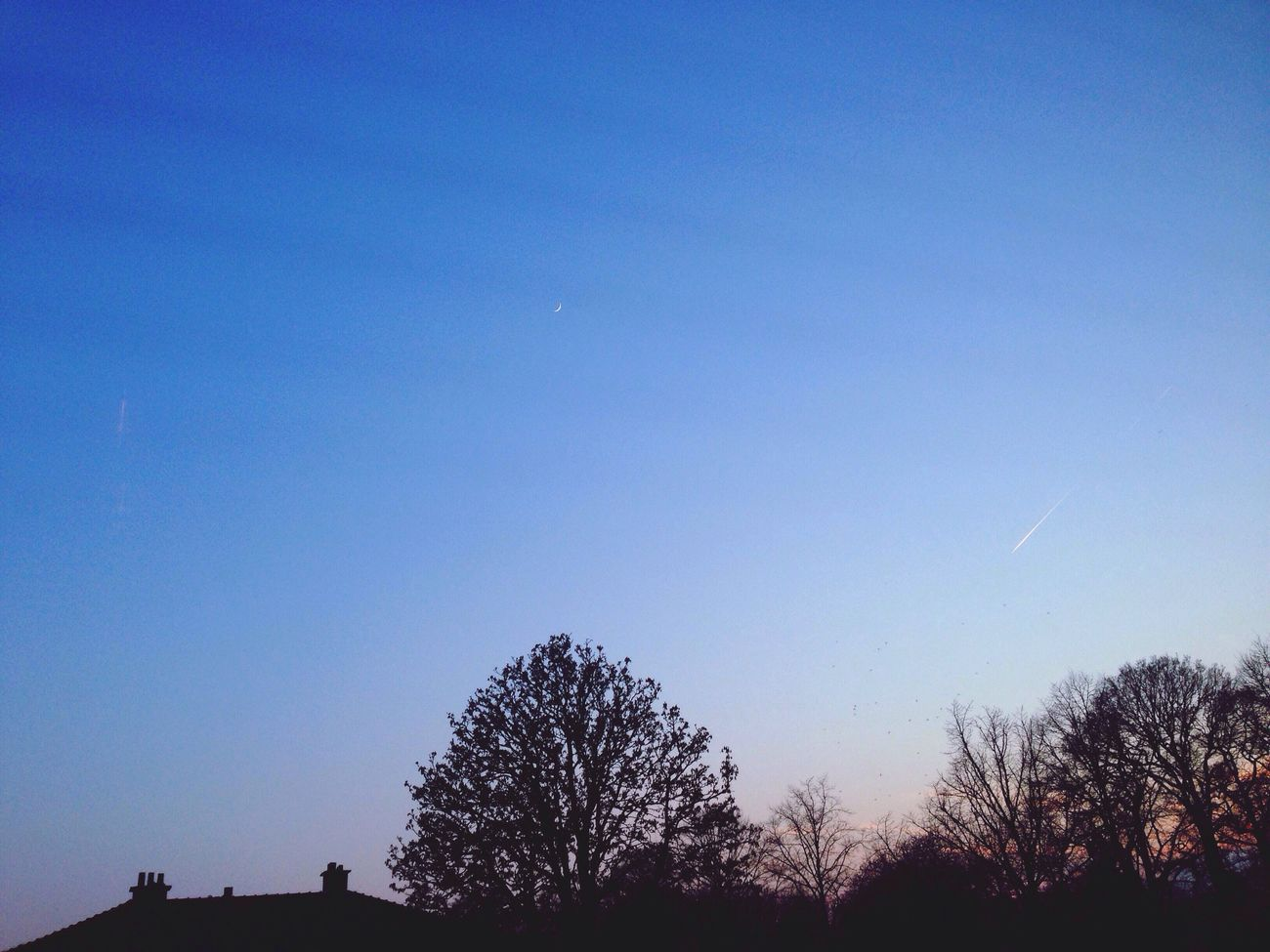 Blue Sky Moon Airplane Stripe Sunset Three Almost Night