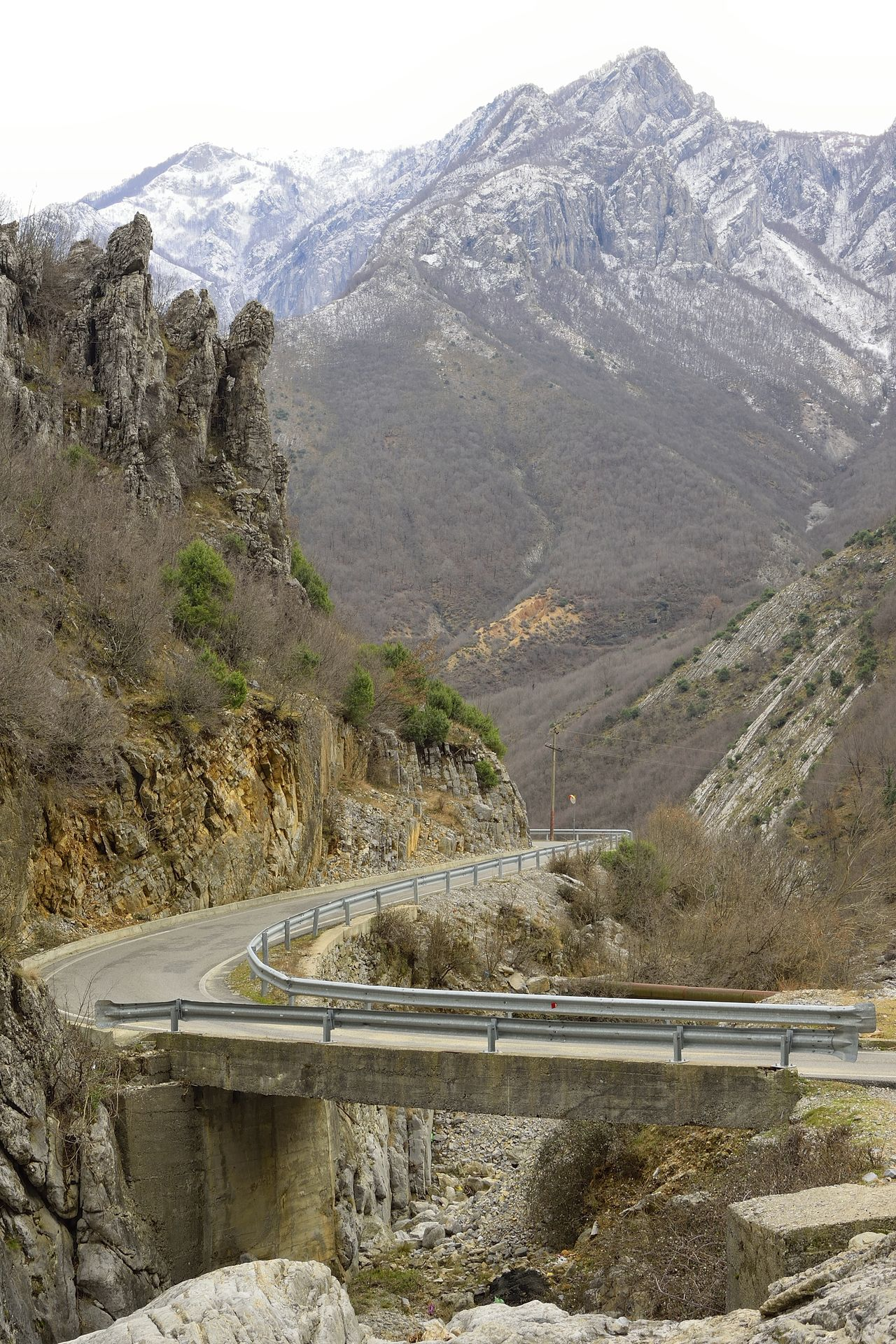 Albania Beauty In Nature Bridge Bridge - Man Made Structure Day High Landscape_Collection Mountain Mountains Nature Nature No People Outdoors Rock Formation Rocky Scenic Scenics Sky Transportation Travel Travling Valley View Winter