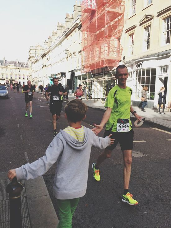 Bath Marathon today. This child was a great Supporter and Motivator Sport Uk