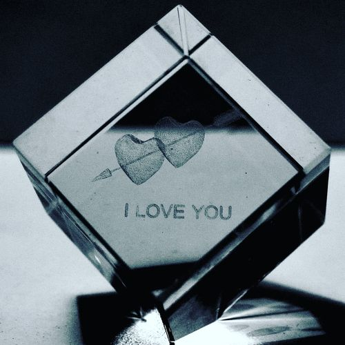 Glass ornament engraved with I Love You Pivotal Ideas Blackandwhite Iloveyou Glass Objects  Glass Reflection Engravings Engraved Glass Cube