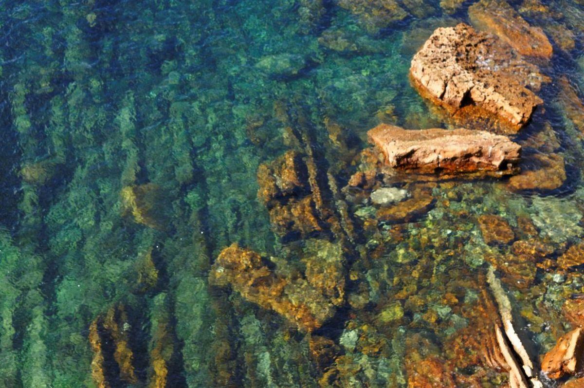 Crystal Clear Waters Turquoise La Concha Santa Clara Island Donostia San Sebastian Guipuzkoa Basque Country SPAIN Nature Rocks Coast