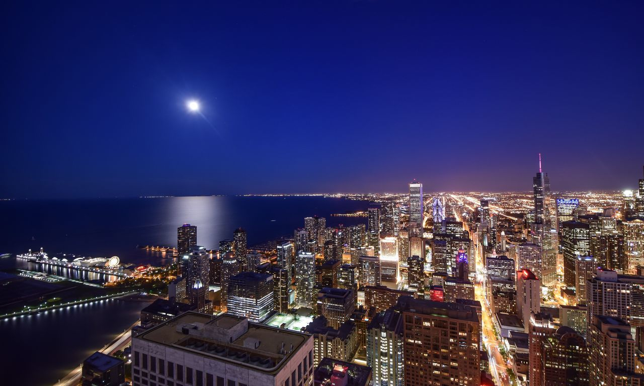 Architecture Building Exterior City Cityscape Long Exposure Travel Skyline Skycraper Nightphotography Blue Sky Water Reflections Slow Shutter Travel Photography Blue Hour Cityscapes Yatch Marine View Chicago Chicago Skyline Moonlight