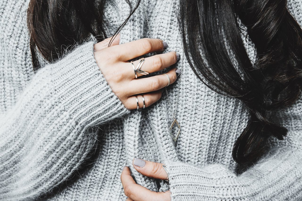 Hands Gentle Sweater Woman Rings Human Body Part Wool Close-up One Person Human Hand Warm Clothing