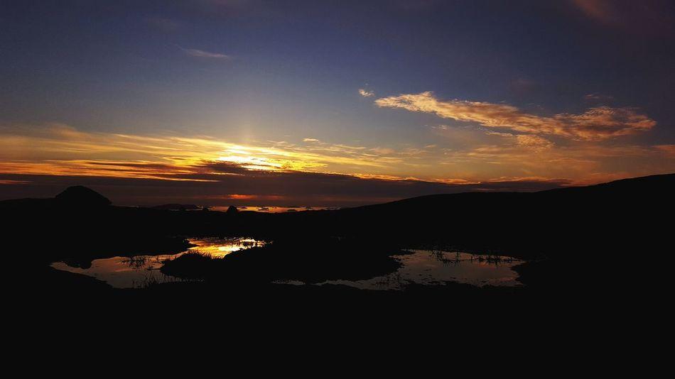 Greenland Silhouette Sunlight Sunset Sky And Clouds Summer Innaarsuit Beautiful