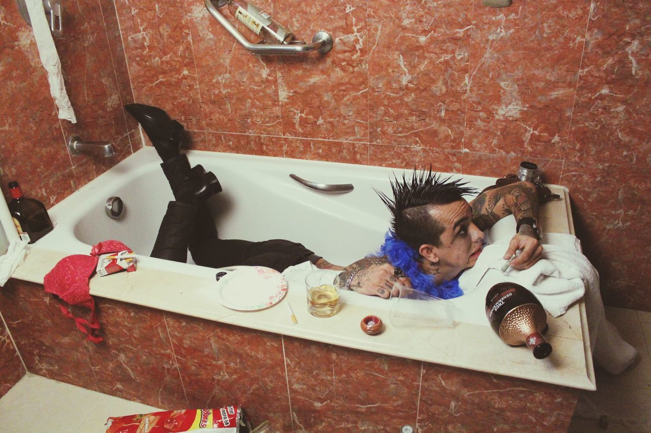 Beautiful stock photos of badezimmer, high angle view, one person, childhood, people