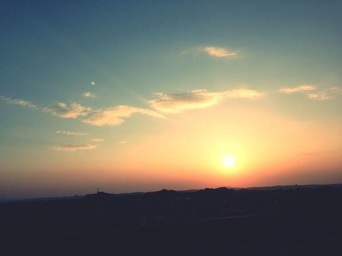 ツーリング中の夕日