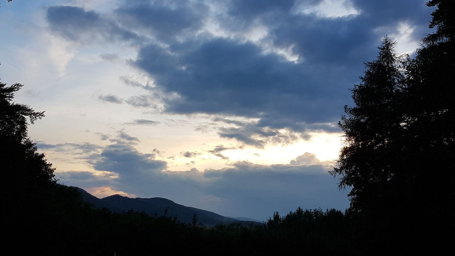 Beauty In Nature Cloud - Sky Day Low Angle View Mountain Nature No People Outdoors Scenics Silhouette Sky Sunset Tranquil Scene Tranquility Tree