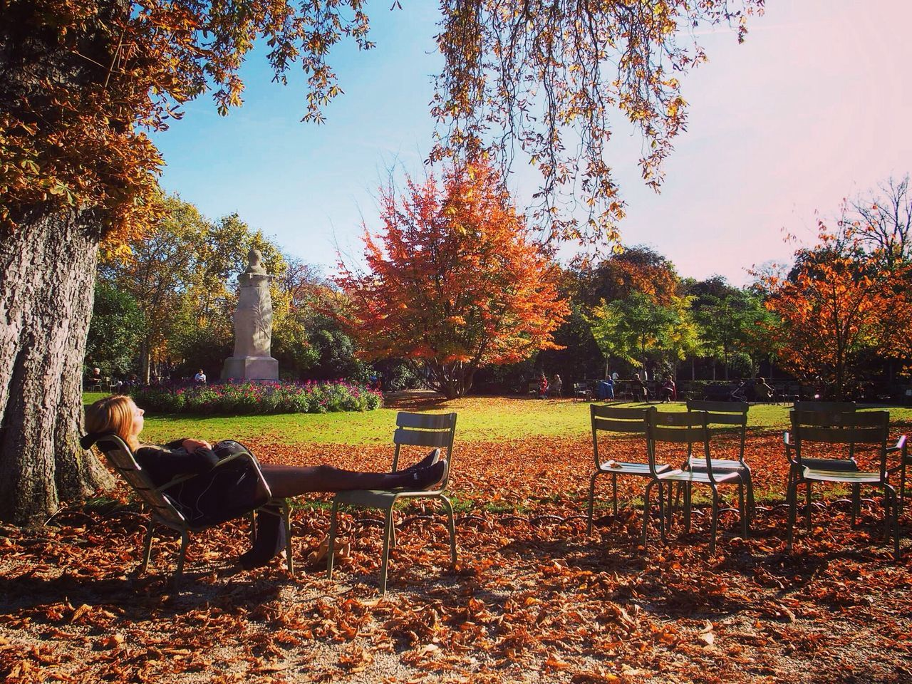 Chilling. Jardin Du Luxembourg Paris Orange Color Girl Travel Destinations Tree Garden Park - Man Made Space Bench Nature Outdoors Green Color People Autumn Day Grass Full Length Sunny Landscape Chilling Romantic Parisian Park Beauty In Nature Sky