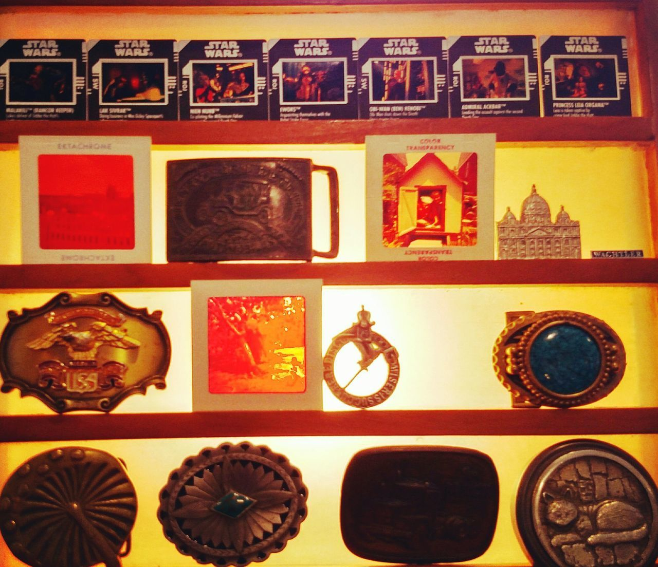 Variation Choice Delicate Craftsmanship A Little Bit Of Everything 😀 Indoors  No People Photograph Multi Colored Star Wars Belt Buckles Displayed