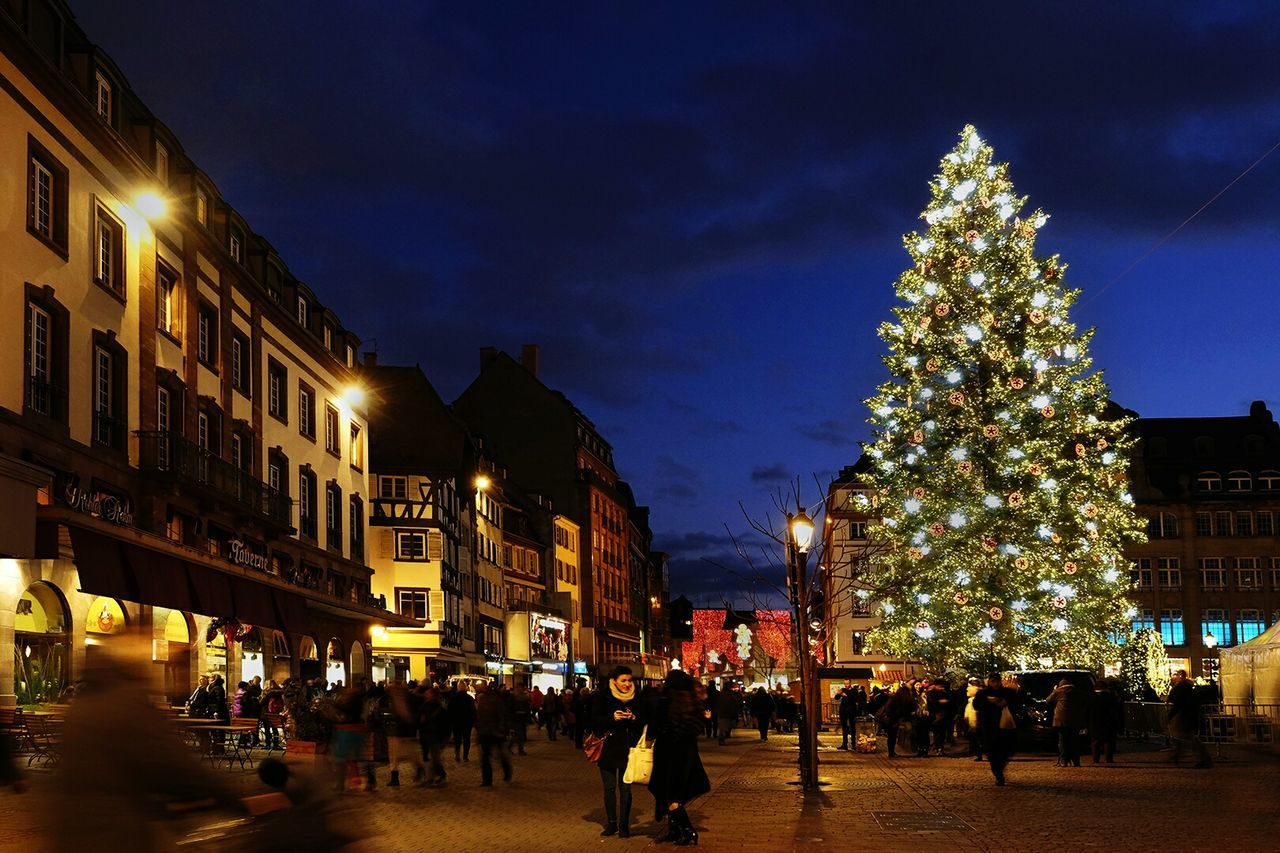 Christmas in Strasbourg Christmas Lights Night Christmas Christmas Decoration Christmas Tree Illuminated Holiday - Event Large Group Of People City Celebration People Cityscape Outdoors Sky Travel Photography Street Light City Street Travel Destinations Blue FUJIFILM X-T1 Fuji X-T1 Fujifilm