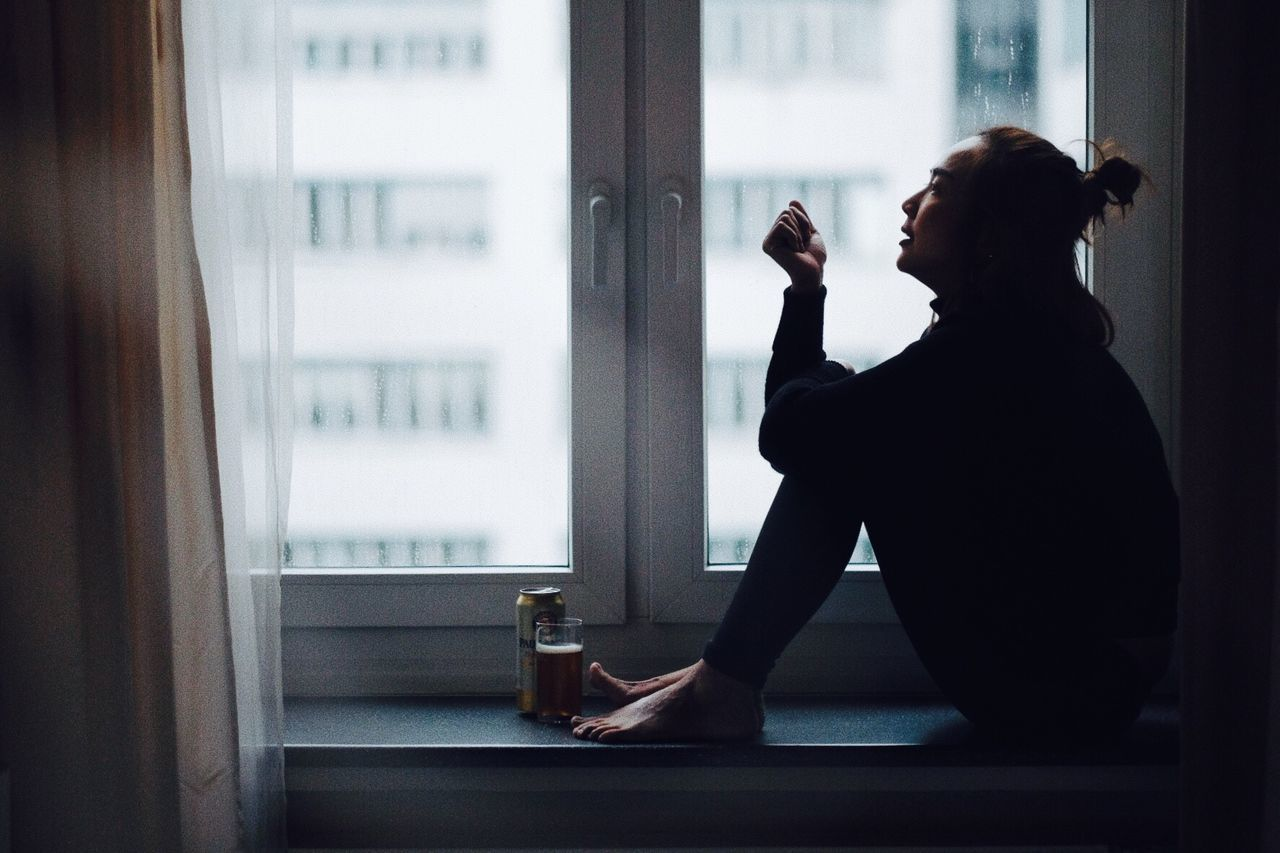 The Portraitist - 2017 EyeEm Awards Drink Drinking Smoking Issues One Person Window Indoors  Food And Drink Bad Habit Real People Bottle Drinking Glass Refreshment Smoking - Activity Side View Addiction Alcohol Looking Through Window Women Lifestyles Young Adult