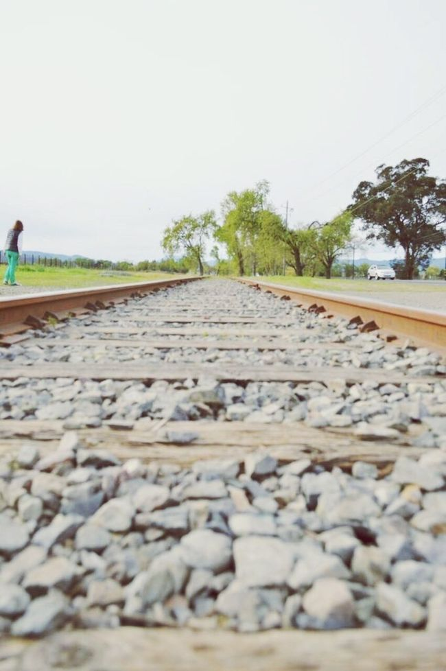 Railway Train Tracks Pebbles Green Grass Blue Sky Natural Beauty Nature Wooden Slats Distance Streetphotography Landscape Napa Valley Ñapa California EyeEm VSCO Nikon Nikonphotography