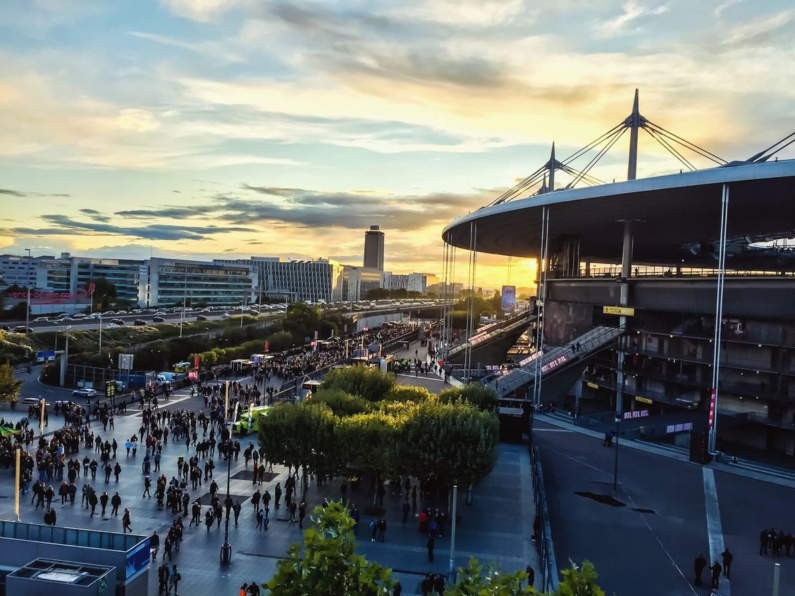 Stade de France - Concert des insus Architecture Built Structure Sky Cloud - Sky Building Exterior City Outdoors High Angle View Tree Sunset Water Large Group Of People Cityscape Travel Destinations Day Road Real People Nature People France City Picoftheday Concert Stade De France Les Insus
